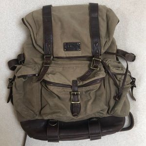 L. L. Bean Leather Waxed Canvas Backpack